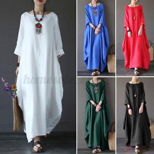 Blue L Women Linen Cotton Summer Vintage Kaftan Loose Long Maxi Shirt Dress Plus