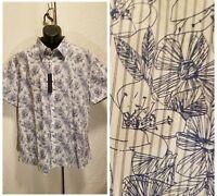 New Perry Ellis White w/ Blue Floral Short Sleeve Button Up Shirt Men's Size XXL