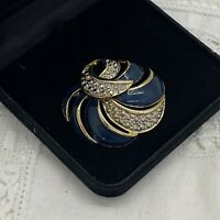 VINTAGE Sparkly Swirl Knot Brooch Gold Tone Blue Enamel Large Collar Pin Retro