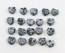 Natural SNOWFLAKE OBSIDIAN heart bead / strand 9mm(w) x 9mm(l) - 20 beads
