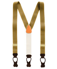 Brooks Brothers Mens Yellow W/ Gold Tone Y Type Nylon Leather Suspenders 8138-5