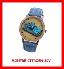 MONTRE COLLECTION RETRO HOMME RARE WATCH LOGO 2CV CITROEN VOITURE BRACELET JEAN