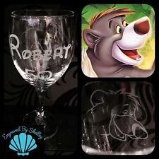 Disney Baloo Bear, Jungle Book Wine Glass Handmade Inc FREE Personalised Name!