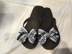 Brown Flat Flip Flops/Blue/Brown Bow