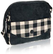 Black Natural Check Messenger Bag - Fair Trade BNWT