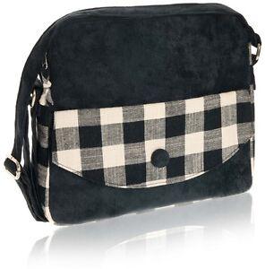Black Messenger Bag Check Design Cotton Zip Closure- Fair Trade BNWT