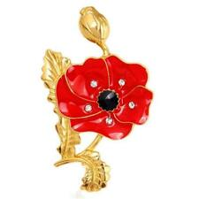 New Style Enamel Red Poppy Flower Lapel Brooch Pin Broach Badge Remembrance Gift