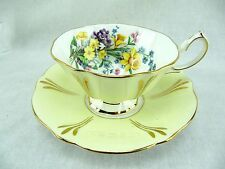 QUEEN ANNE CUP AND SAUCER - YELLOW WITH DAFFODIL BOUQUET