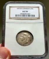 1872 H Canada 25 Cents - NGC AU 50 - Book Value $400 - AU-50 - Nice Coin