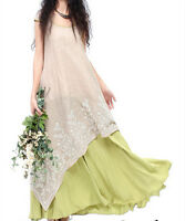 New Womens Length Short Beach Full Maxi Cotton Floral Summer Sleeve Long Dress