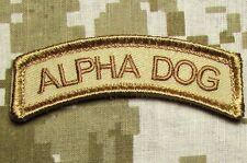 ALPHA DOG TAB TYPE A US ARMY USA MILITARY ISAF DESERT HOOK & LOOP MORALE PATCH
