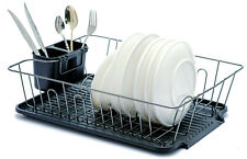 B&z Dish Drying Rack With PP Dripping Tray & Cutlery Holder Nickle Chrome Black