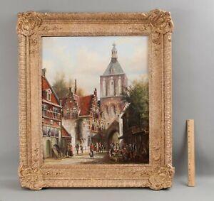 Large Antique JOHN HAANSTRA Dutch Street Scene Oil Painting & Original Frame