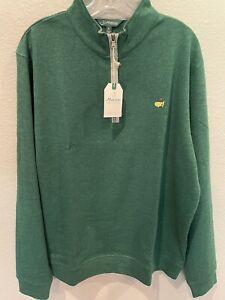 Masters Augusta National Half Zip Heathered Green/Gray Trim Pullover NWT Sz XL