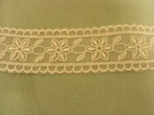 Organza Cream Embroidered  Galloon Lace Trim x 2 mts