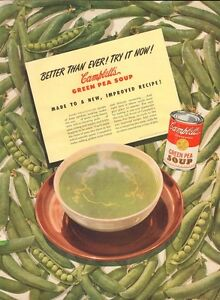 1947 Campbell's PRINT AD Green Pea Soup Bowl Great Fun Colorful Kitchen Decor