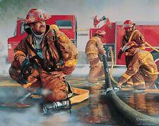 Firefighting Poster Art Print Antique Truck Gear Badges Charles Freitag MVP331