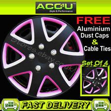 "13"" Pink Black 7 Spoke Sports Design Car Wheel Trims Hub Covers Set+Caps+Ties"