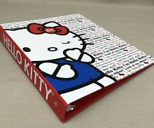 "Sanrio HELLO KITTY! 3-Ring Binder 1"" 2010 Red White Winking Cat with Apple"