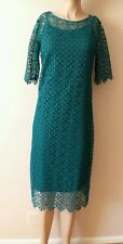 STONING TURQUOISE/GREEN LACE CROCHET DRESS SIZE 10 TALL FROM NEXT BNWT