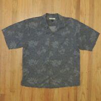 Tommy Bahama Hawaiian Shirt Mens Silk Gray Floral Short Sleeve Size Large