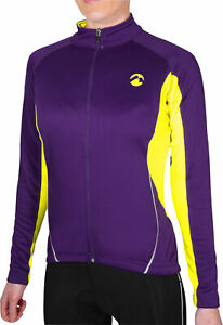 Piu Miglia Thermal Womens Cycling Jersey Purple Full Zip Long Sleeve Cycle Top