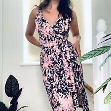 Asos Pink Animal Leopard Print Strappy Wrap Bodycon Midi Dress Size 10