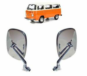 VW BUS BAY WINDOW KOMBI STAINLESS STEEL EXTERIOR MIRROR PAIR LEFT AND RIGHT
