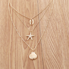 Voroco Starfish Shell 3 Necklace Silver Plated Charm Colorful Women Jewelry Gift