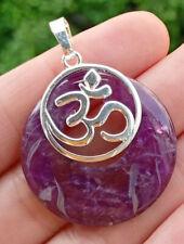 Chakra Reiki Healing Amulet Energy Amethyst stone Yoga Om Pendant