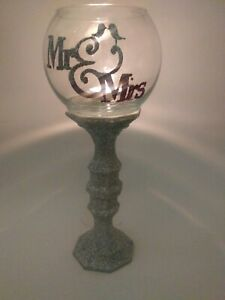Ms and Mrs Wedding centerpieces candle holders glass contacte me for colors