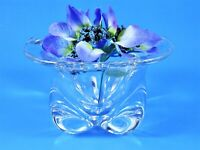 Heavy Crystal Clear Glass Centerpiece Bowl Contemporary Free Form Pinch Bottom
