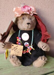 """Vintage 1992 OOAK 12"""" Stearnsy Jointed Bear Mohair """"Birdie, A Bag Lady"""" With Tag"""