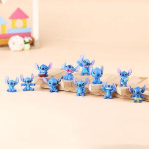 1set 12pcs Lilo&Stitch Figure Toys Kids Cake Toppers Home Decoration Mini Size