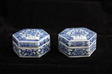 032 Tek Sing Chinaporzellan antik blau-weiße Sechseckdose Rarität
