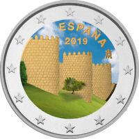2 Euro Gedenkmünze Spanien 2019 coloriert / mit Farbe - Farbmünze Avila