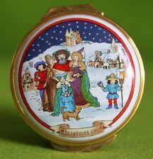 Vintage Christmas 1993 Scandinavian Village Halcyon Days Battersea Enamel Box
