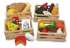 Melissa & Doug Food Groups 21 HandPainted Wooden Pieces and 4 Crates