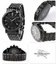 NEW-BURBERRY SWISS MADE HERITAGE BLACK,CHRONO. S/STEEL BRACELET WATCH-BU1373