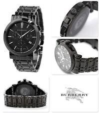 NEW-BURBERRY SWISS MADE HERITAGE BLACK,CHRONO. S/STEEL BRACELET WATCH-BU1373