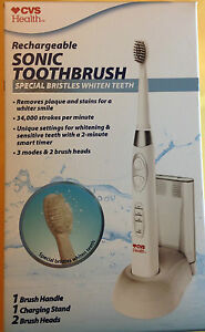 SONIC TOOTHBRUSH RECHARGEABLE by CVS(3 MODES & 2 BRUSH HEADS) 34K STROKES X MIN.