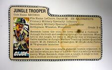 GI JOE RECONDO FILE CARD Vintage Action Figure Jungle Trooper GREAT SHAPE 1984