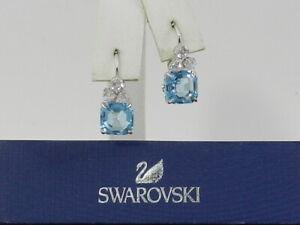 Swarovski Silver-Tone Square Crystal Drop Earrings