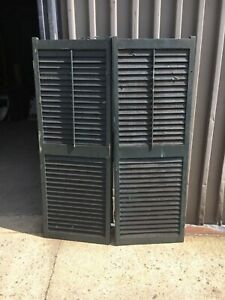 """PaiR wide c1890 louvered antique green window house shutters 61.75"""" x 22"""" x 1.25"""