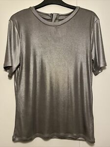 Topshop Size 6 Dark Silver Metallic Tshirt Top Back Zip Good Condition