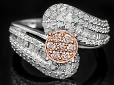 1 CTW Baguette & Round Diamond Cocktail Dress Fashion Ring Silver Rose Gold Sz 8