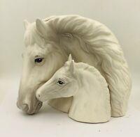 Vintage White HORSE W/ FOUL HEAD PLANTER Vase Fine Porcelain Detail MCM