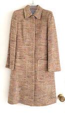 OASIS princess line coat size 8 wool slub silk mix beige multicolour knee length
