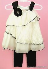Girls Dressy Outfit 2T Off White Lace Babydoll Top Black Leggings Rare Too NWT