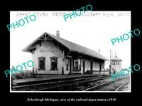OLD LARGE HISTORIC PHOTO OF SCHOOLCRAFT MICHIGAN RAILROAD DEPOT STATION c1910